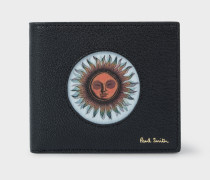 Black Lenticular 'Sun' Motif Leather Billfold Wallet