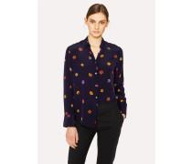 Navy 'Kyoto Floral' Print Silk Shirt