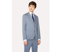 Tailored-Fit Light Blue Stretch-Cotton Twill Blazer