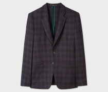 Tailored-Fit Purple And Black Jacquard Check Blazer