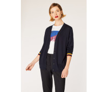 Dark Navy Wool Cardigan With 'Artist Stripe' Cuffs