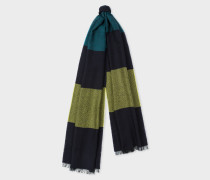 Dark Navy Stripe Herringbone Motif Wool-Blend Scarf