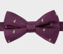 Damson Embroidered 'Rabbits' Silk Bow Tie