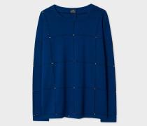 Blue Merino Wool Checked Sweater