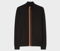 Black Merino Wool 'Artist Stripe' Zip-Through Cardigan