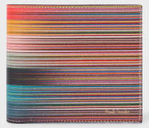 Mixed-Stripe Leather Billfold And Coin Wallet
