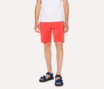Coral Garment-Dyed Stretch Pima-Cotton Shorts
