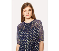 Navy 'Sun' Print Silk-Blend Midi Dress