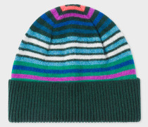 Dark Green Striped Wool Beanie Hat