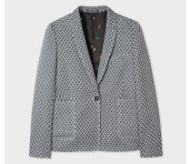 Navy Jacquard Cotton-Blend Blazer