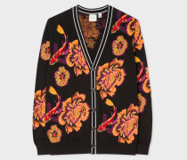 Black 'Ocean' Intarsia Cotton Cardigan