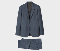 The Soho - Tailored-Fit Slate Blue Windowpane Check Three-Piece Suit
