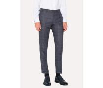 Slim-Fit Blue Plaid Wool Trousers