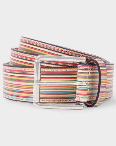 Embossed Signature Stripe Leather Belt