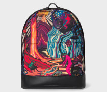 'Dreamer' Print Backpack With Leather Trims