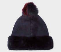 Sheepskin Three-Colour Bobble Beanie Hat