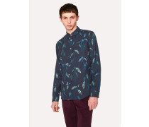 Tailored-Fit Navy Linen-Blend 'Sapling' Print Shirt