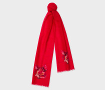 Red 'Year Of The Pig' Motif Wool And Cashmere Scarf