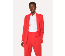 Red Shawl Collar Wool Blazer