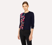 Navy Merino Wool Cardigan With 'Ribbon' Print
