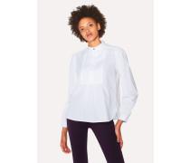 White Band-Collar Stretch-Cotton Shirt