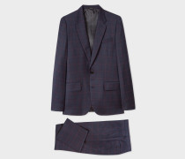 The Soho - Tailored-Fit Navy Windowpane Check Wool Suit