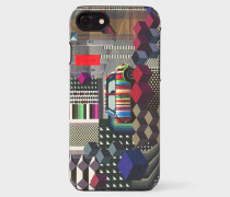 'Geometric Mini' Print Textured Leather iPhone 7 Case