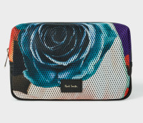 'Rose Collage' Print Mesh Wash Bag