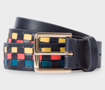 Navy Woven Check Leather Belt