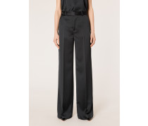 Black Satin Tuxedo Wide Leg Trousers