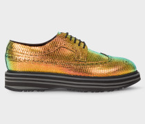 Iridescent Leather 'Grand' Brogues With Striped Soles