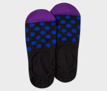 Black Loafer Socks With Blue Polka Dots