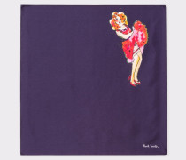 Navy 'Lady' Print Silk Pocket Square