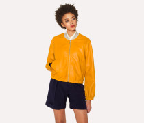 Burnt Yellow Leather Bomber Jacket