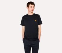 Navy Embroidered Zebra Organic-Cotton T-Shirt