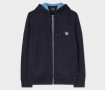 Navy Organic-Cotton Zip-Front Zebra Logo Hoodie