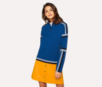 Blue Knitted Cotton Half-Zip Sweater With Contrasting Stripes