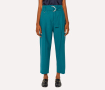 Teal Houndstooth Pleated Wool Trousers With Belt