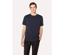 Slim-Fit Navy Crew Neck T-Shirt With Embroidered Signature