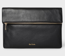 Black Fold-Over Leather Pouch With Metallic Detail