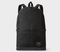 Black Canvas 'Cycle Stripe' Detail Backpack