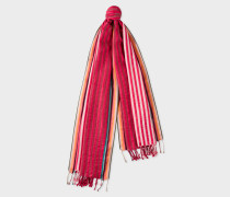 Two-Tone Red Stripe Cotton-Silk Scarf