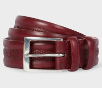 Burgundy Embossed Geometric Pattern Leather Belt