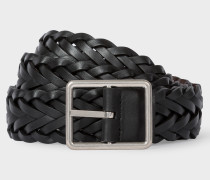 Black Reversible Plaited Leather Belt