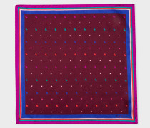 Burgundy 'Rabbit And Heart' Striped Border Silk Pocket Square