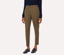 Classic-Fit Khaki Windowpane Check Wool Trousers