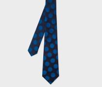 Dark Navy Polka Dot Silk Tie
