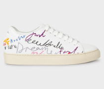 White 'Ideas Script' Leather 'Basso' Trainers