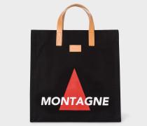 'Montagne' Print Black Canvas Tote Bag