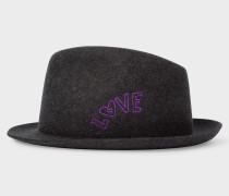 Charcoal Grey 'Love' Embroidery Wool-Felt Hat